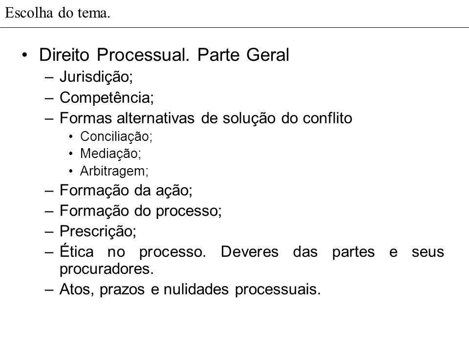Escolha do tema. Direito Processual. Parte Geral –Jurisdição; –Competência; –Formas alternativas de solução do conflito Conciliação; Mediação; Arbitra