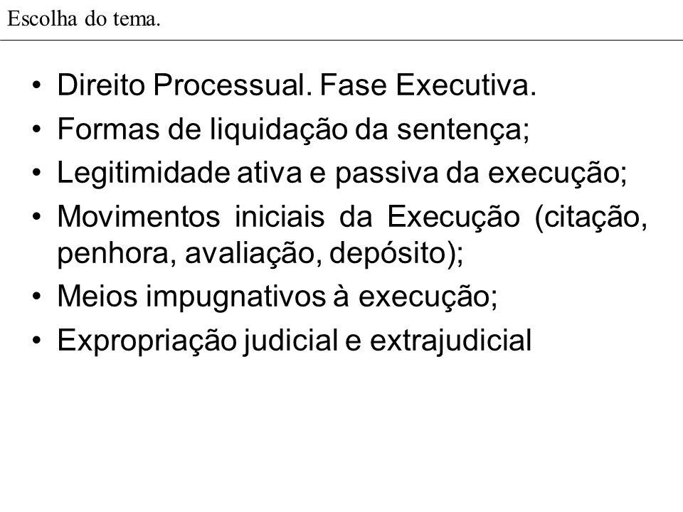 Escolha do tema. Direito Processual. Fase Executiva. Formas de liquidação da sentença; Legitimidade ativa e passiva da execução; Movimentos iniciais d