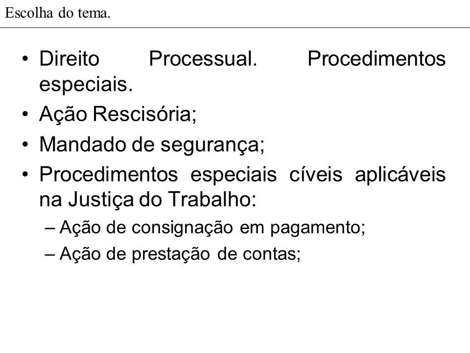 Escolha do tema. Direito Processual. Procedimentos especiais. Ação Rescisória; Mandado de segurança; Procedimentos especiais cíveis aplicáveis na Just