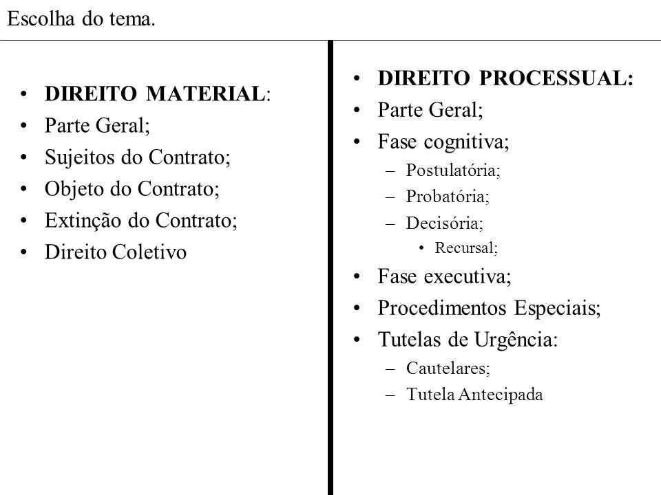 Escolha do tema. DIREITO MATERIAL: Parte Geral; Sujeitos do Contrato; Objeto do Contrato; Extinção do Contrato; Direito Coletivo DIREITO PROCESSUAL: P