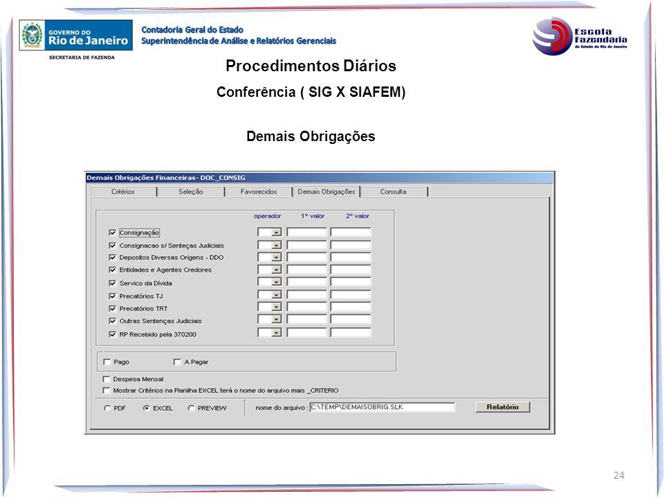 Procedimentos Diários Conferência ( SIG X SIAFEM) Demais Obrigações 24