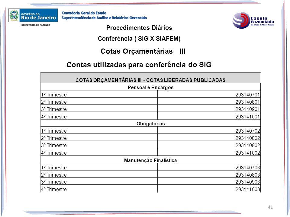 Procedimentos Diários Conferência ( SIG X SIAFEM) Cotas Orçamentárias III 41 Contas utilizadas para conferência do SIG COTAS ORÇAMENTÁRIAS III - COTAS