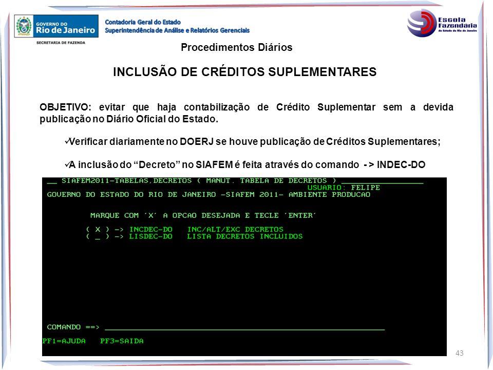 INCLUSÃO DE CRÉDITOS SUPLEMENTARES OBJETIVO: evitar que haja contabilização de Crédito Suplementar sem a devida publicação no Diário Oficial do Estado