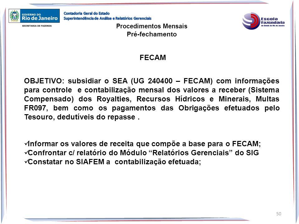 OBJETIVO: subsidiar o SEA (UG 240400 – FECAM) com informações para controle e contabilização mensal dos valores a receber (Sistema Compensado) dos Roy