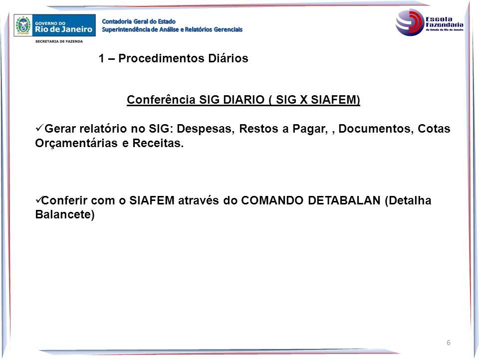 1 – Procedimentos Diários Conferência SIG DIARIO ( SIG X SIAFEM) Gerar relatório no SIG: Despesas, Restos a Pagar,, Documentos, Cotas Orçamentárias e