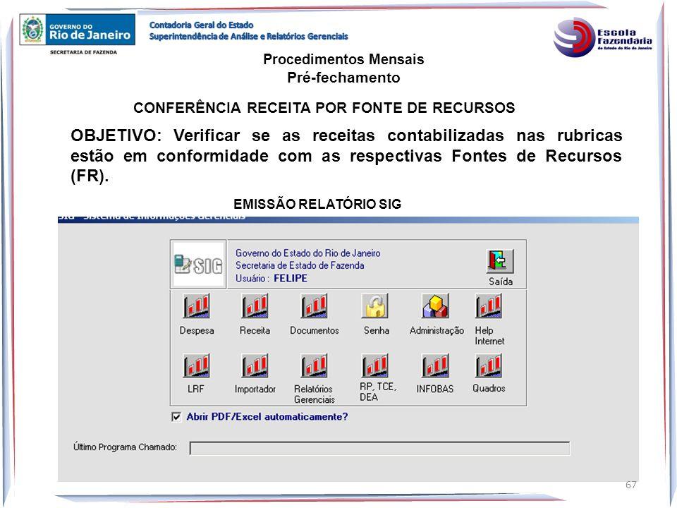 CONFERÊNCIA RECEITA POR FONTE DE RECURSOS EMISSÃO RELATÓRIO SIG OBJETIVO: Verificar se as receitas contabilizadas nas rubricas estão em conformidade c