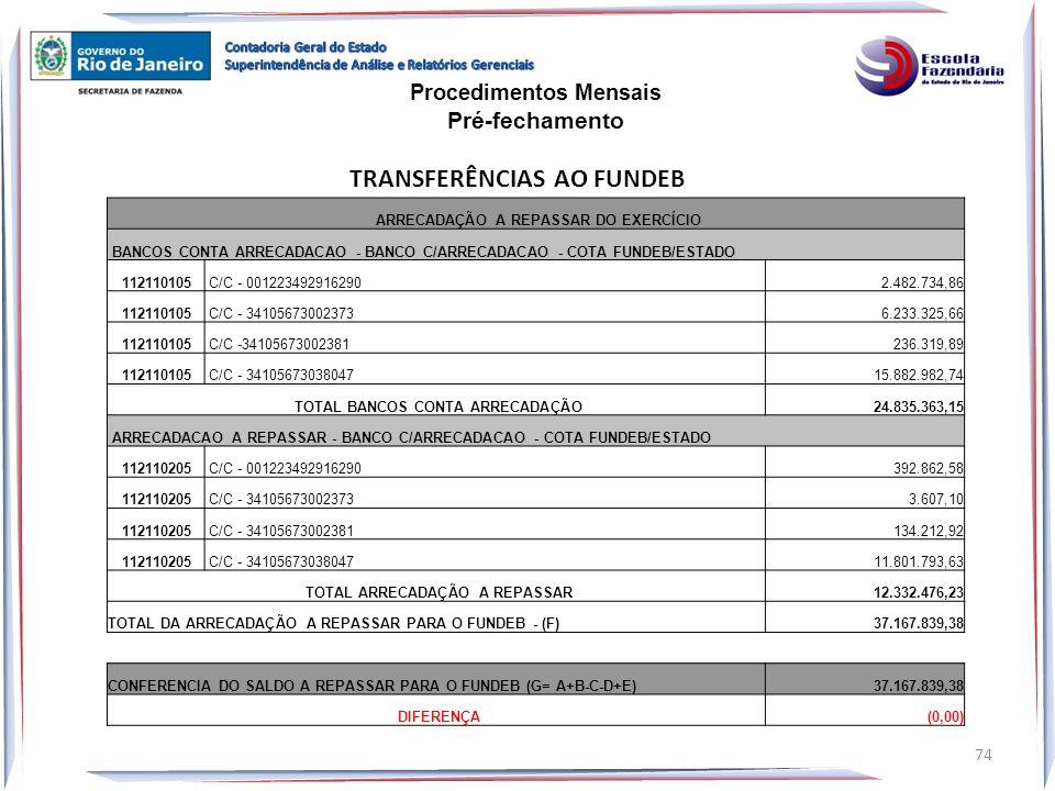 ARRECADAÇÃO A REPASSAR DO EXERCÍCIO BANCOS CONTA ARRECADACAO - BANCO C/ARRECADACAO - COTA FUNDEB/ESTADO 112110105 C/C - 001223492916290 2.482.734,86 1