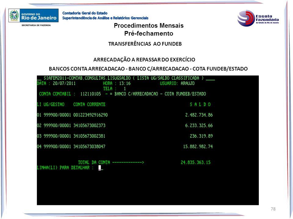 ARRECADAÇÃO A REPASSAR DO EXERCÍCIO BANCOS CONTA ARRECADACAO - BANCO C/ARRECADACAO - COTA FUNDEB/ESTADO Procedimentos Mensais Pré-fechamento TRANSFERÊ