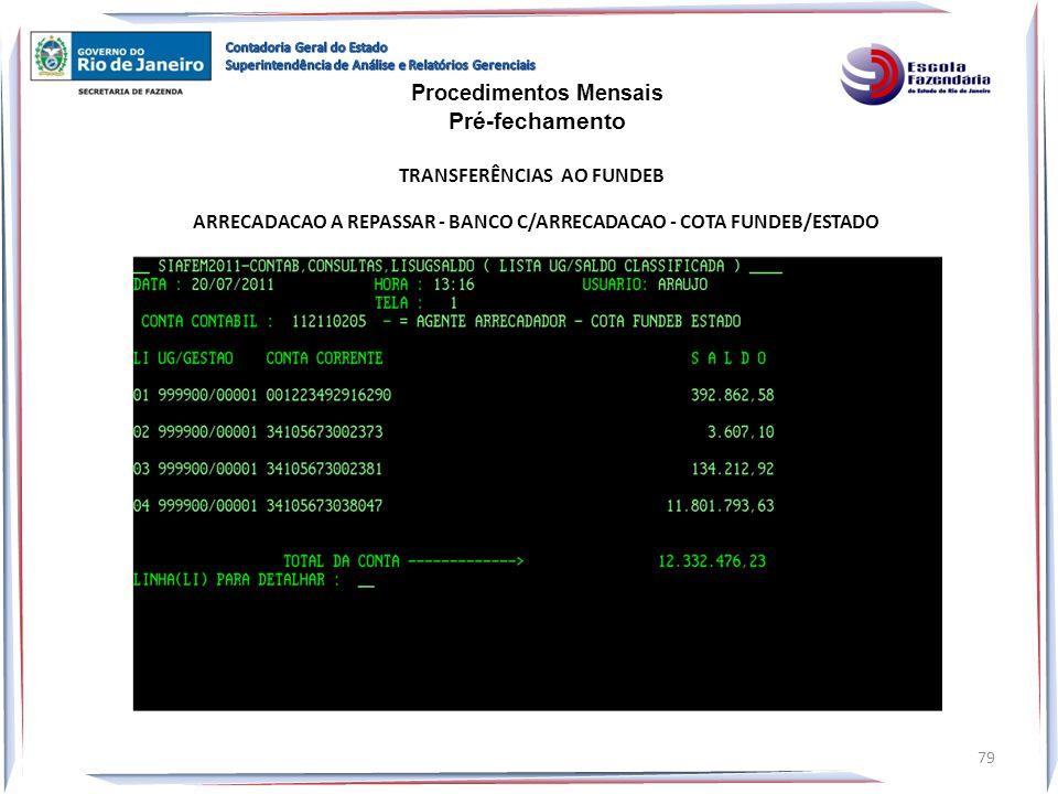 ARRECADACAO A REPASSAR - BANCO C/ARRECADACAO - COTA FUNDEB/ESTADO Procedimentos Mensais Pré-fechamento TRANSFERÊNCIAS AO FUNDEB 79