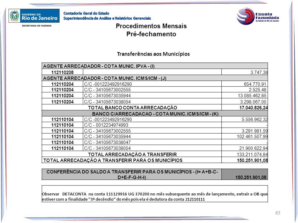 AGENTE ARRECADADOR - COTA MUNIC. IPVA - (I) 112110208 3.747,38 AGENTE ARRECADADOR - COTA MUNIC. ICMS/ICM - (J) 112110204 C/C -001223492916290 654.770,