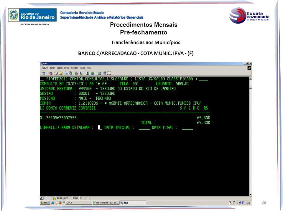 BANCO C/ARRECADACAO - COTA MUNIC. IPVA - (F) Procedimentos Mensais Pré-fechamento Transferências aos Municípios 88