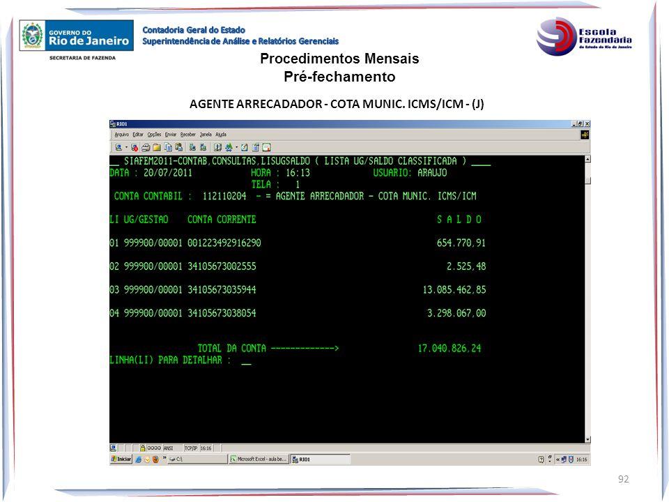 AGENTE ARRECADADOR - COTA MUNIC. ICMS/ICM - (J) Procedimentos Mensais Pré-fechamento 92
