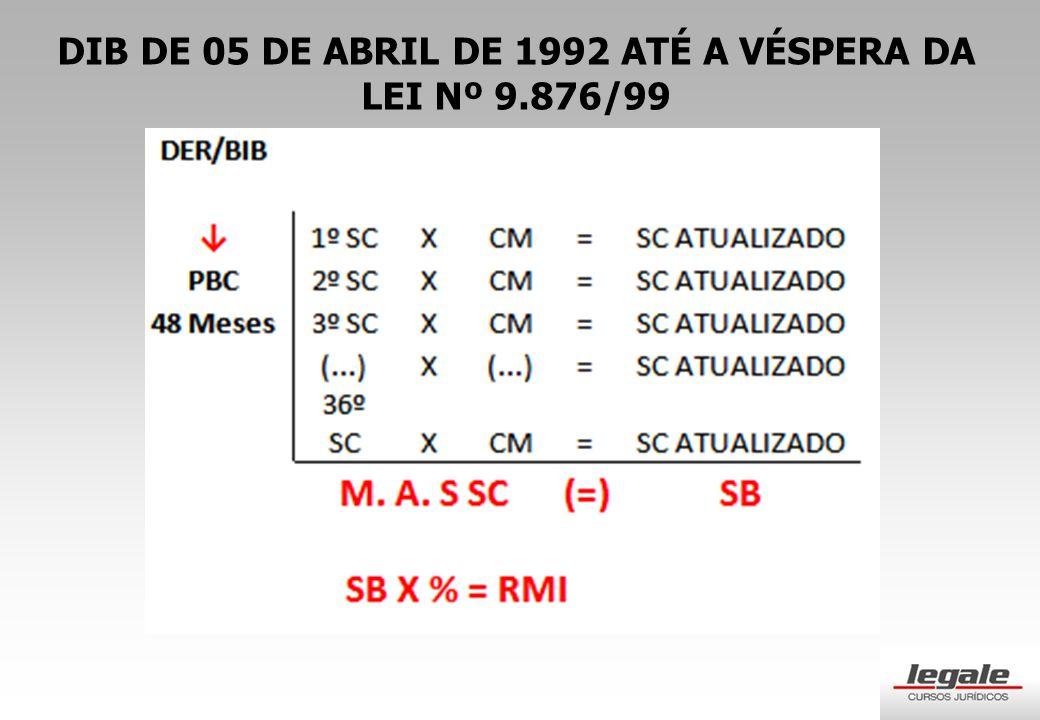 DIB DE 05 DE ABRIL DE 1992 ATÉ A VÉSPERA DA LEI Nº 9.876/99