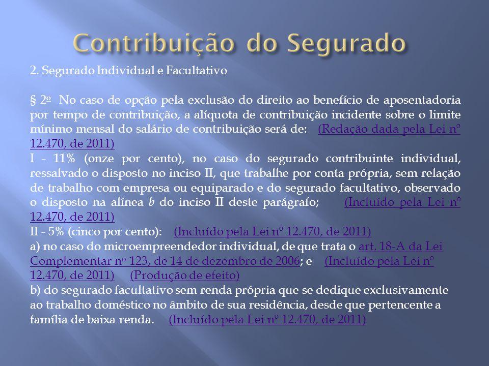 2. Segurado Individual e Facultativo § 2 o No caso de opção pela exclusão do direito ao benefício de aposentadoria por tempo de contribuição, a alíquo