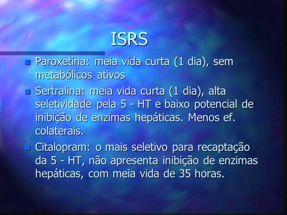 ISRS n Paroxetina: meia vida curta (1 dia), sem metabólicos ativos n Sertralina: meia vida curta (1 dia), alta seletividade pela 5 - HT e baixo potencial de inibição de enzimas hepáticas.