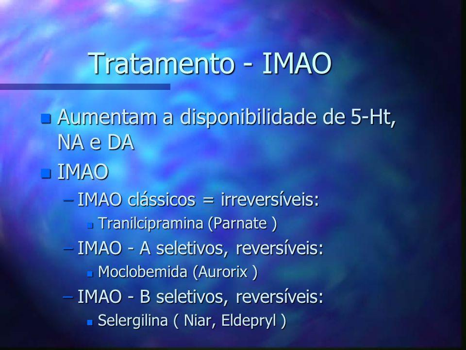 Tratamento - IMAO n Aumentam a disponibilidade de 5-Ht, NA e DA n IMAO –IMAO clássicos = irreversíveis: n Tranilcipramina (Parnate ) –IMAO - A seletivos, reversíveis: n Moclobemida (Aurorix ) –IMAO - B seletivos, reversíveis: n Selergilina ( Niar, Eldepryl )