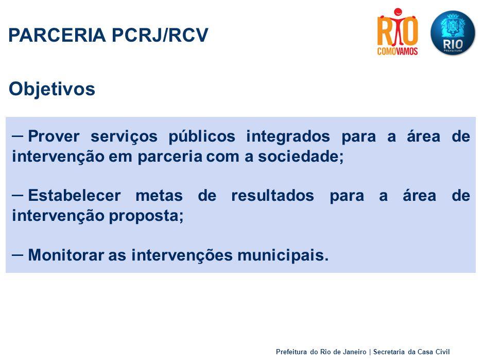 Prefeitura do Rio de Janeiro | Secretaria da Casa Civil Objetivos – Prover serviços públicos integrados para a área de intervenção em parceria com a sociedade; – Estabelecer metas de resultados para a área de intervenção proposta; – Monitorar as intervenções municipais.