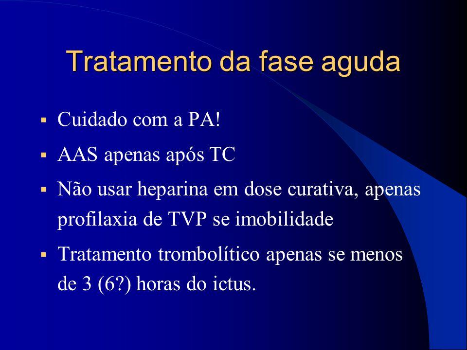 Tratamento da fase aguda  Cuidado com a PA!  AAS apenas após TC  Não usar heparina em dose curativa, apenas profilaxia de TVP se imobilidade  Trat