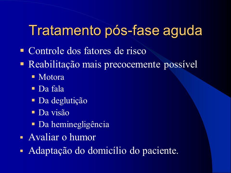 Tratamento pós-fase aguda  Controle dos fatores de risco  Reabilitação mais precocemente possível  Motora  Da fala  Da deglutição  Da visão  Da