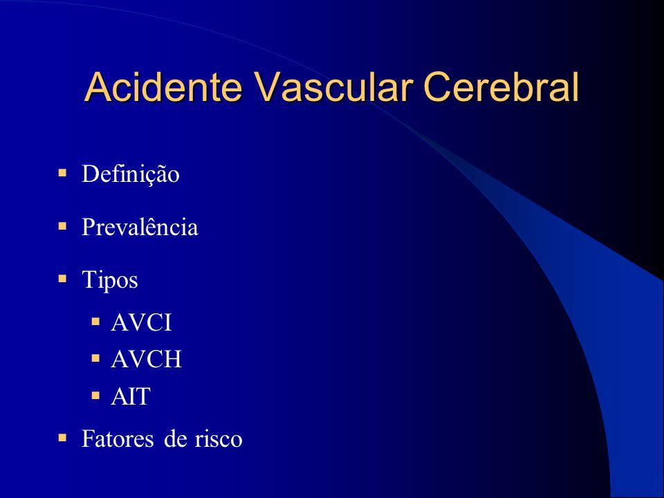 Acidente Vascular Cerebral  Definição  Prevalência  Tipos  AVCI  AVCH  AIT  Fatores de risco