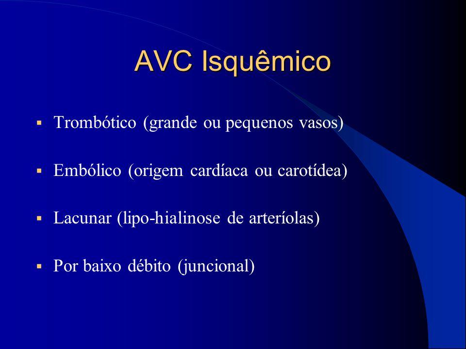 AVC Isquêmico  Trombótico (grande ou pequenos vasos)  Embólico (origem cardíaca ou carotídea)  Lacunar (lipo-hialinose de arteríolas)  Por baixo d