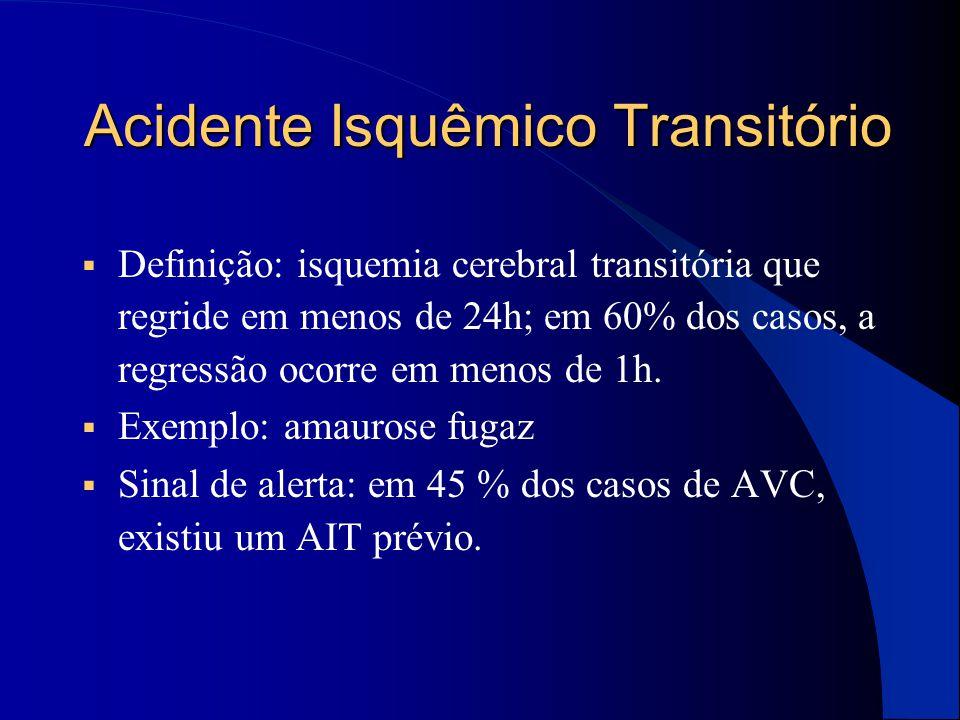 Acidente Isquêmico Transitório  Definição: isquemia cerebral transitória que regride em menos de 24h; em 60% dos casos, a regressão ocorre em menos d