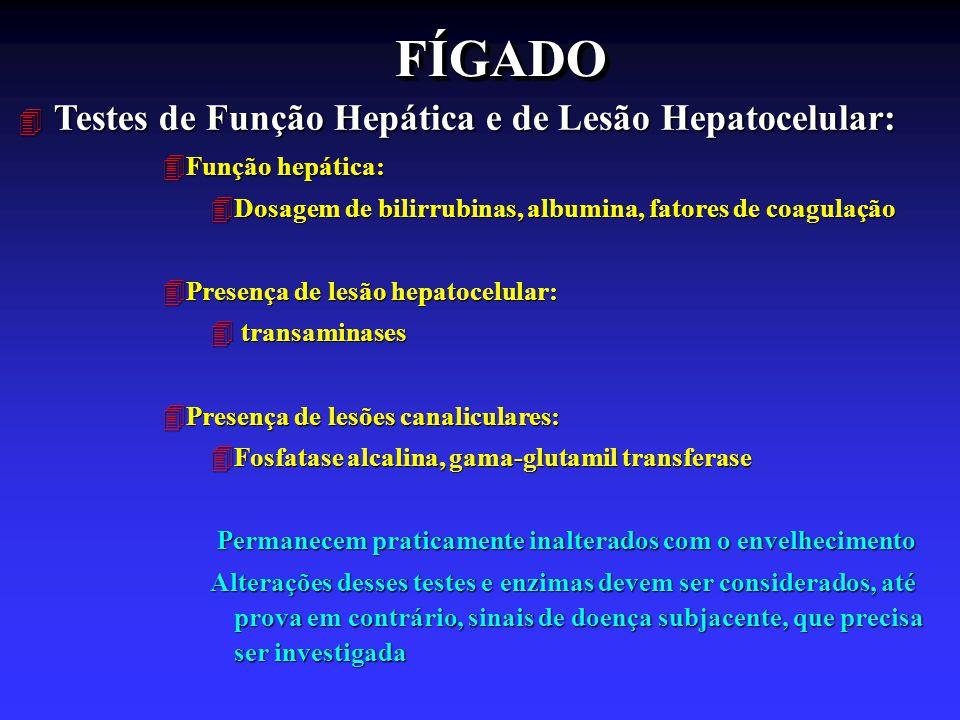 FÍGADOFÍGADO 4 Testes de Função Hepática e de Lesão Hepatocelular: 4Função hepática: 4Dosagem de bilirrubinas, albumina, fatores de coagulação 4Presen