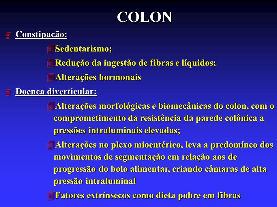 COLONCOLON 4 Constipação: 4Sedentarismo; 4Redução da ingestão de fibras e líquidos; 4Alterações hormonais 4 Doença diverticular: 4Alterações morfológi