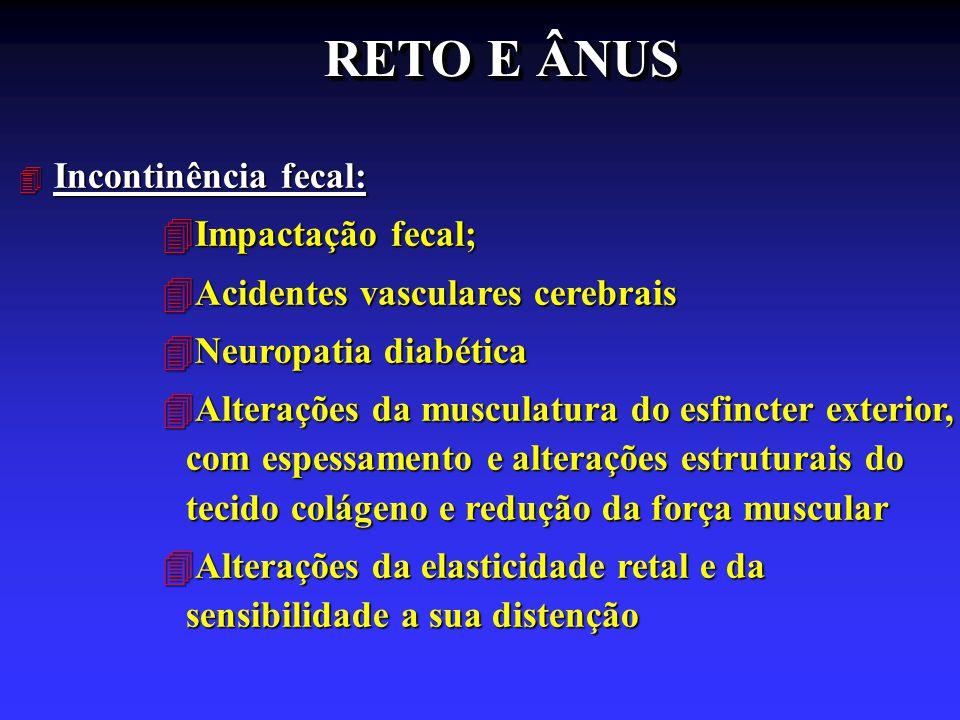 RETO E ÂNUS 4 Incontinência fecal: 4Impactação fecal; 4Acidentes vasculares cerebrais 4Neuropatia diabética 4Alterações da musculatura do esfincter ex