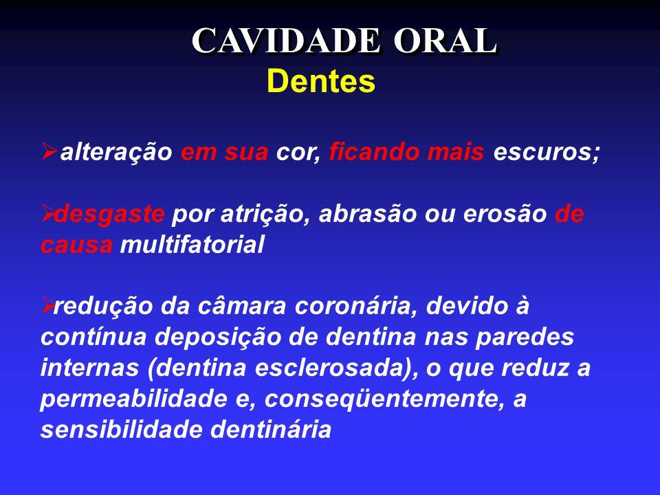 CAVIDADE ORAL Dentes  alteração em sua cor, ficando mais escuros;  desgaste por atrição, abrasão ou erosão de causa multifatorial  redução da câmar