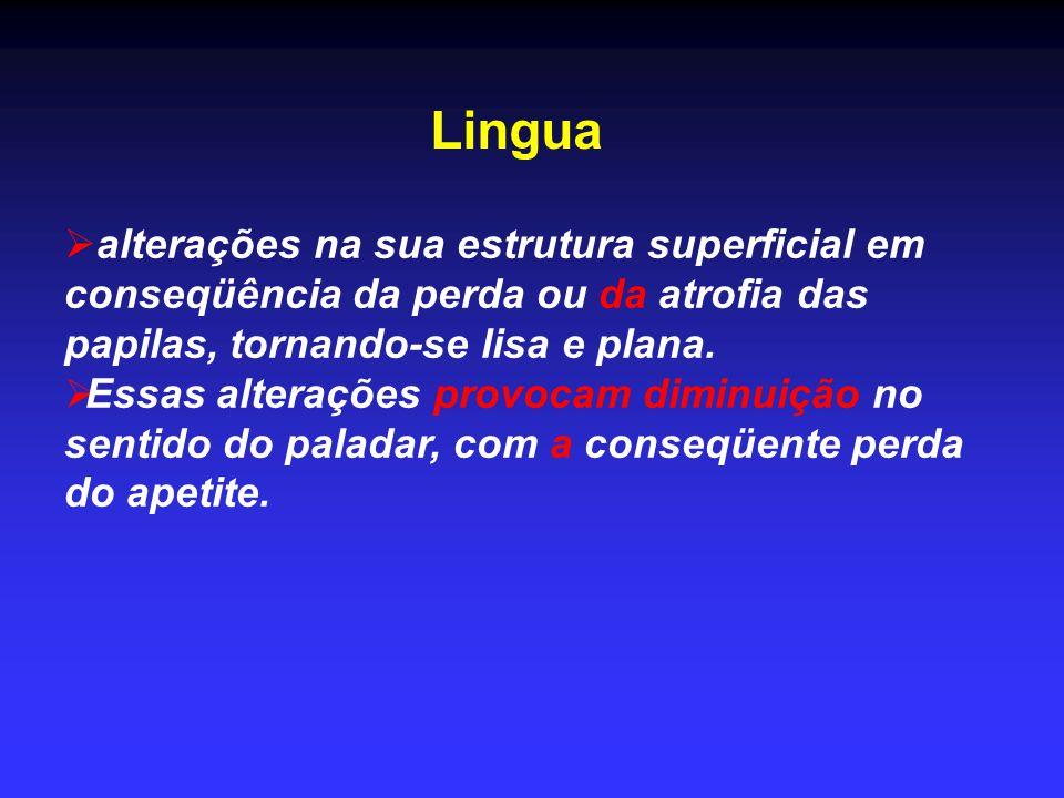 Lingua  alterações na sua estrutura superficial em conseqüência da perda ou da atrofia das papilas, tornando-se lisa e plana.  Essas alterações prov
