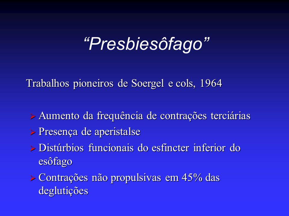 """""""Presbiesôfago"""" Trabalhos pioneiros de Soergel e cols, 1964  Aumento da frequência de contrações terciárias  Presença de aperistalse  Distúrbios fu"""