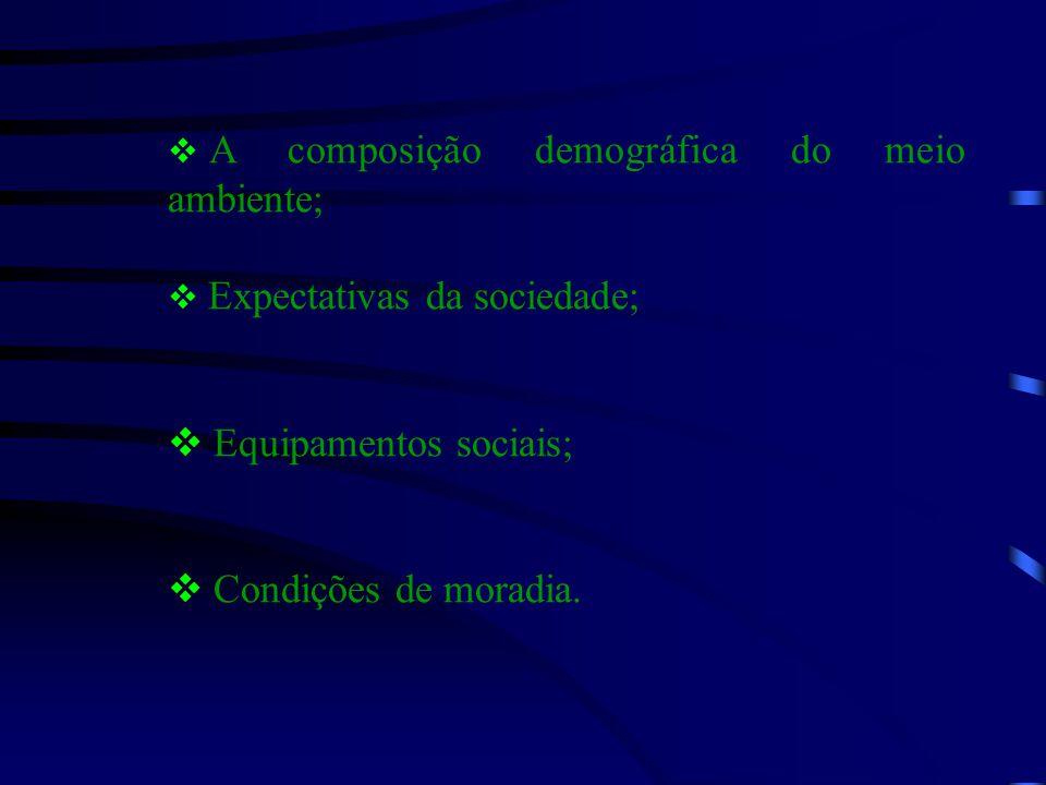  A composição demográfica do meio ambiente;  Expectativas da sociedade;  Equipamentos sociais;  Condições de moradia.