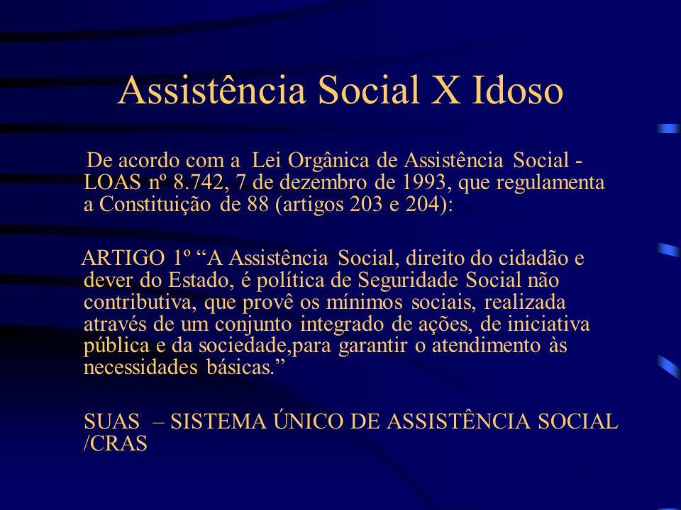 Assistência Social X Idoso De acordo com a Lei Orgânica de Assistência Social - LOAS nº 8.742, 7 de dezembro de 1993, que regulamenta a Constituição de 88 (artigos 203 e 204): ARTIGO 1º A Assistência Social, direito do cidadão e dever do Estado, é política de Seguridade Social não contributiva, que provê os mínimos sociais, realizada através de um conjunto integrado de ações, de iniciativa pública e da sociedade,para garantir o atendimento às necessidades básicas. SUAS – SISTEMA ÚNICO DE ASSISTÊNCIA SOCIAL /CRAS