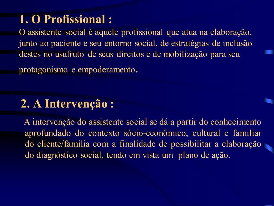 1. O Profissional : O assistente social é aquele profissional que atua na elaboração, junto ao paciente e seu entorno social, de estratégias de inclus