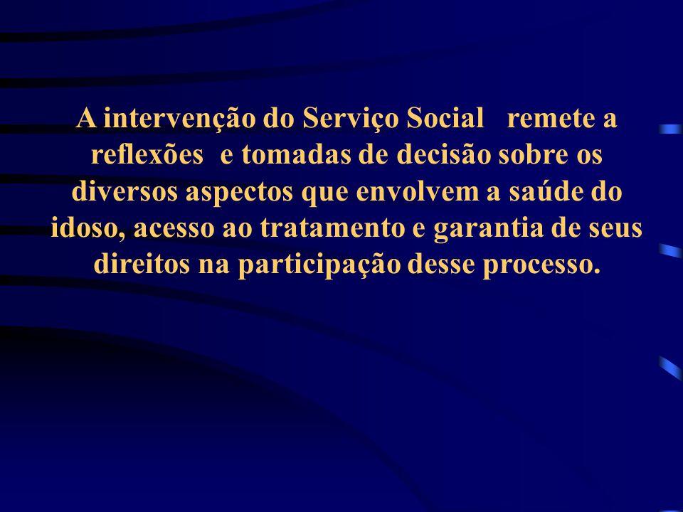 A intervenção do Serviço Social remete a reflexões e tomadas de decisão sobre os diversos aspectos que envolvem a saúde do idoso, acesso ao tratamento e garantia de seus direitos na participação desse processo.