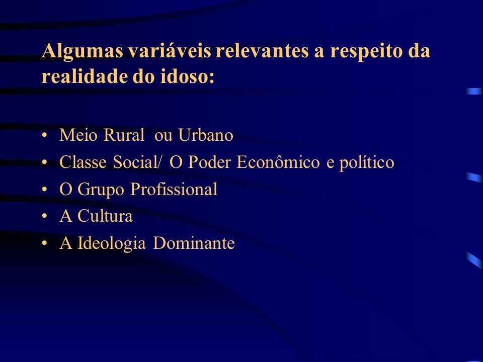Algumas variáveis relevantes a respeito da realidade do idoso: Meio Rural ou Urbano Classe Social/ O Poder Econômico e político O Grupo Profissional A Cultura A Ideologia Dominante
