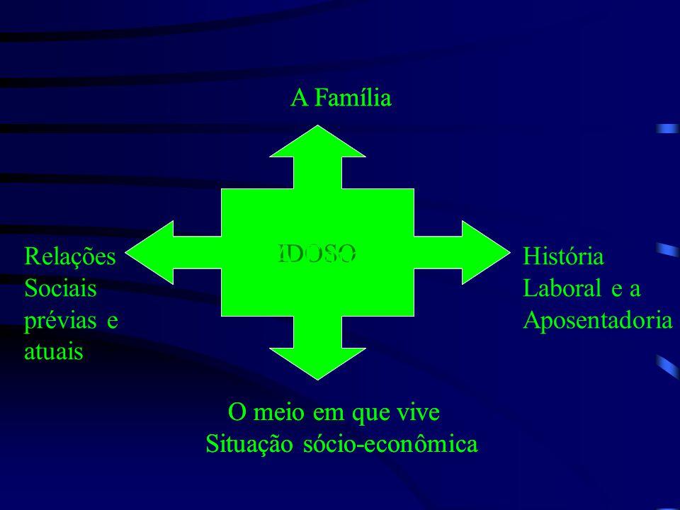 IDOSO A Família Relações Sociais prévias e atuais O meio em que vive Situação sócio-econômica História Laboral e a Aposentadoria IDOSO A Família O meio em que vive Situação sócio-econômica A Família