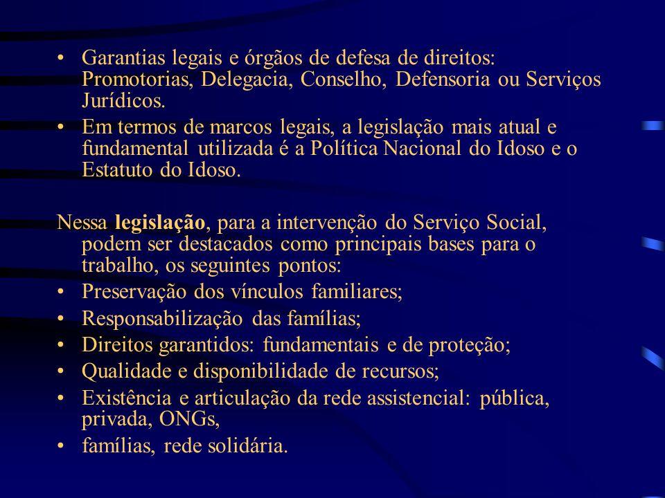 Garantias legais e órgãos de defesa de direitos: Promotorias, Delegacia, Conselho, Defensoria ou Serviços Jurídicos. Em termos de marcos legais, a leg