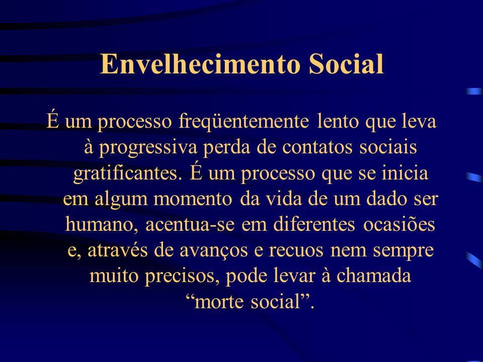 Envelhecimento Social É um processo freqüentemente lento que leva à progressiva perda de contatos sociais gratificantes. É um processo que se inicia e