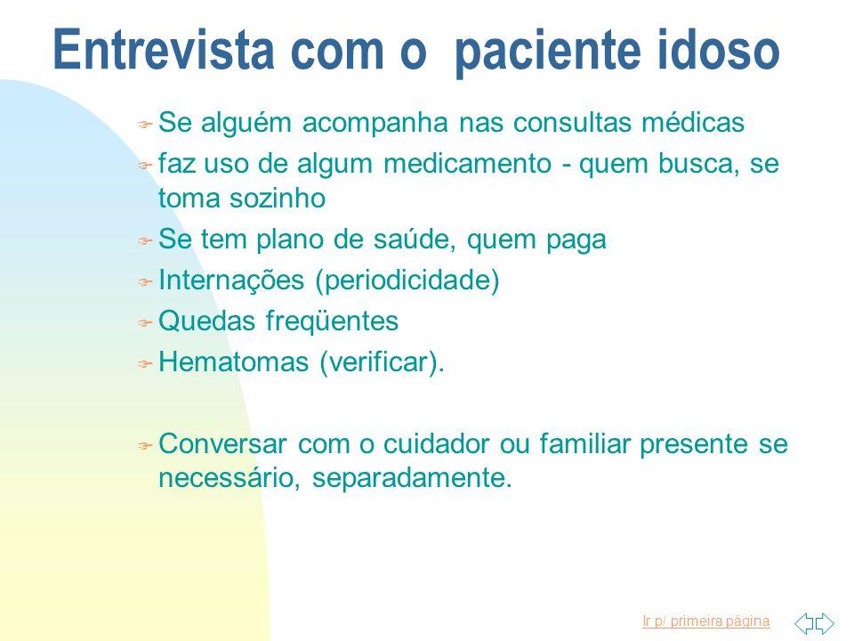 Ir p/ primeira página Entrevista com o paciente idoso F Se alguém acompanha nas consultas médicas F faz uso de algum medicamento - quem busca, se toma
