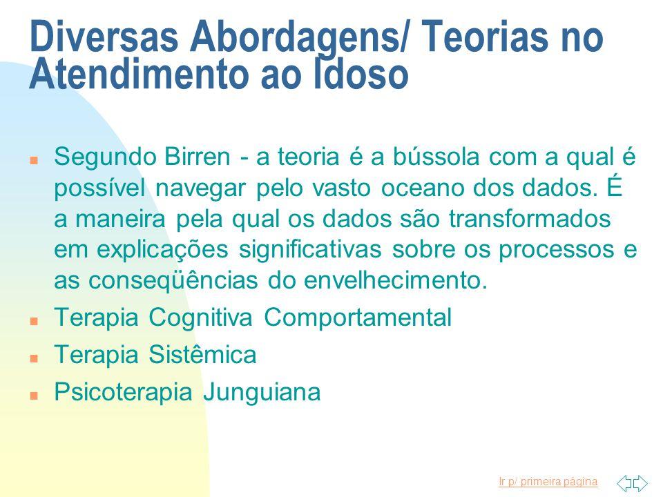 Ir p/ primeira página Diversas Abordagens/ Teorias no Atendimento ao Idoso n Segundo Birren - a teoria é a bússola com a qual é possível navegar pelo