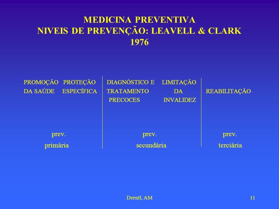 Derntl, AM11 MEDICINA PREVENTIVA NIVEIS DE PREVENÇÃO: LEAVELL & CLARK 1976 PROMOÇÃO PROTEÇÃO DIAGNÓSTICO E LIMITAÇÃO DA SAÚDE ESPECÍFICA TRATAMENTO DA