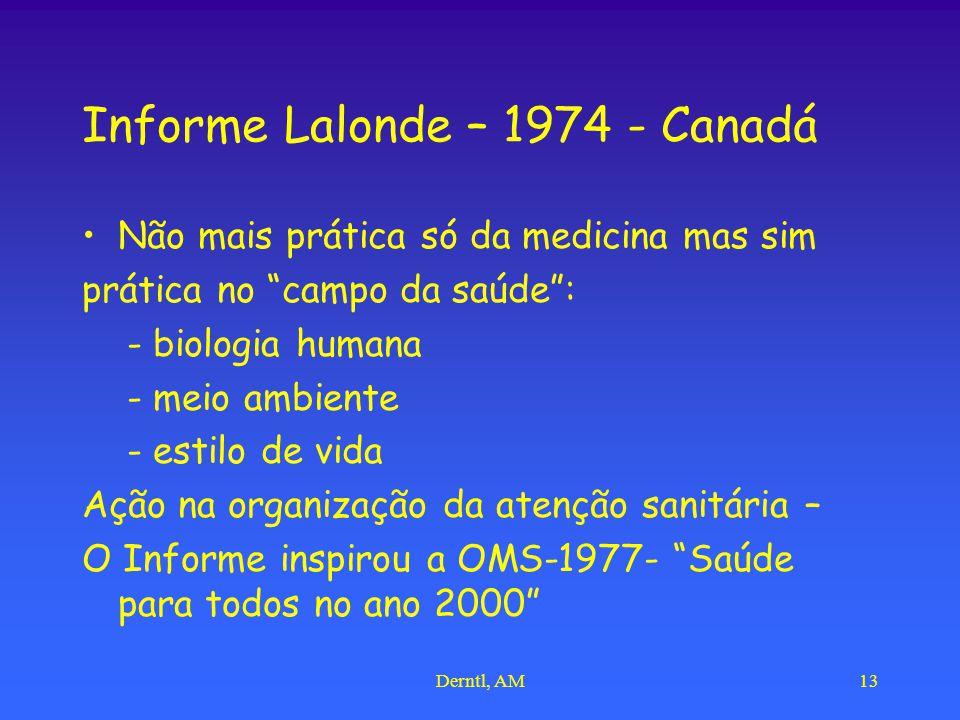 Derntl, AM13 Informe Lalonde – 1974 - Canadá Não mais prática só da medicina mas sim prática no campo da saúde : - biologia humana - meio ambiente - estilo de vida Ação na organização da atenção sanitária – O Informe inspirou a OMS-1977- Saúde para todos no ano 2000