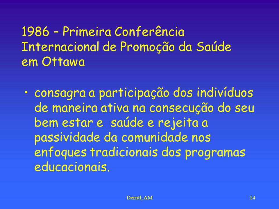 Derntl, AM14 1986 – Primeira Conferência Internacional de Promoção da Saúde em Ottawa consagra a participação dos indivíduos de maneira ativa na consecução do seu bem estar e saúde e rejeita a passividade da comunidade nos enfoques tradicionais dos programas educacionais.