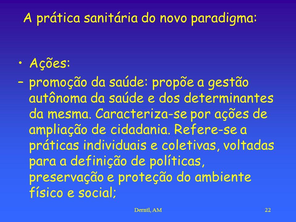 Derntl, AM22 A prática sanitária do novo paradigma: Ações: –promoção da saúde: propõe a gestão autônoma da saúde e dos determinantes da mesma. Caracte