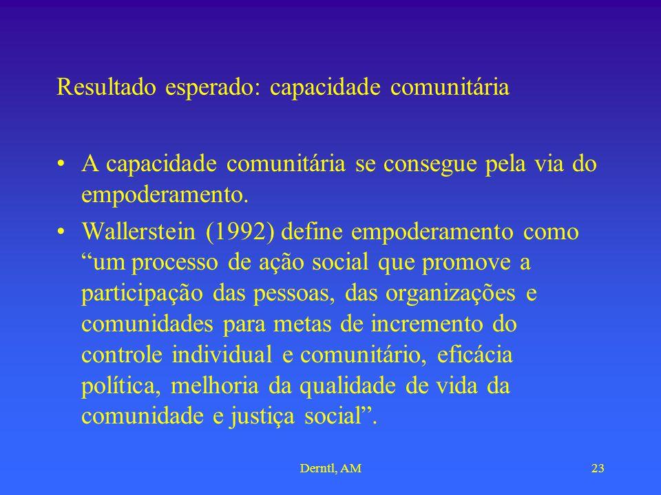 Derntl, AM23 Resultado esperado: capacidade comunitária A capacidade comunitária se consegue pela via do empoderamento. Wallerstein (1992) define empo