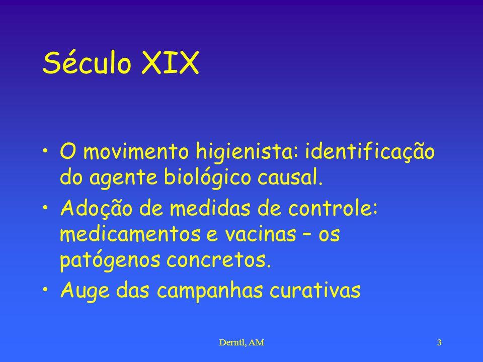Derntl, AM3 Século XIX O movimento higienista: identificação do agente biológico causal. Adoção de medidas de controle: medicamentos e vacinas – os pa