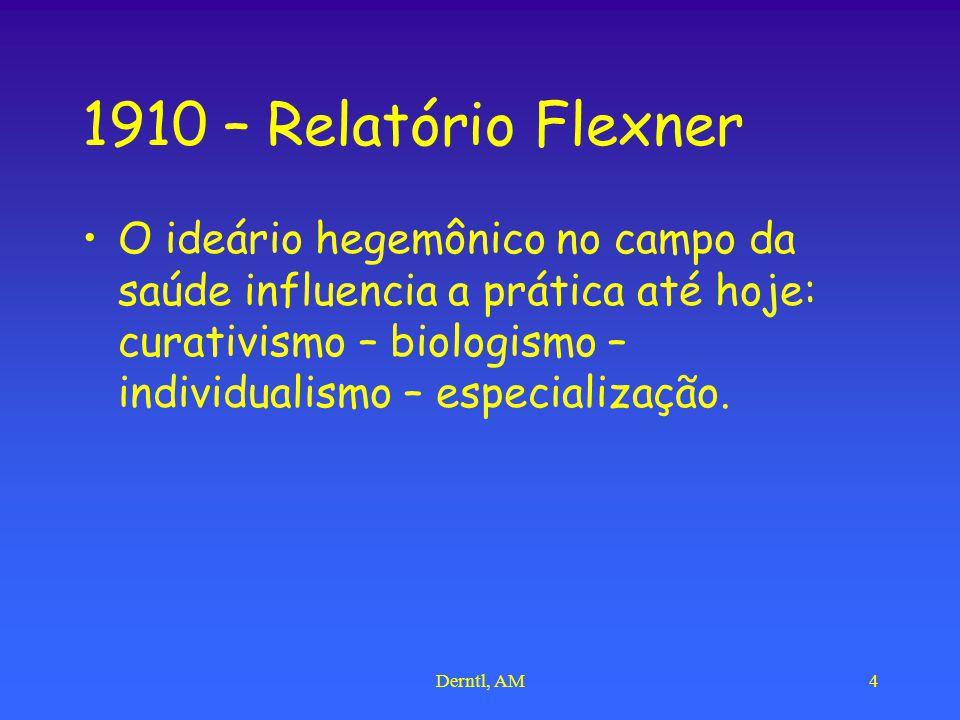 Derntl, AM4 1910 – Relatório Flexner O ideário hegemônico no campo da saúde influencia a prática até hoje: curativismo – biologismo – individualismo – especialização.