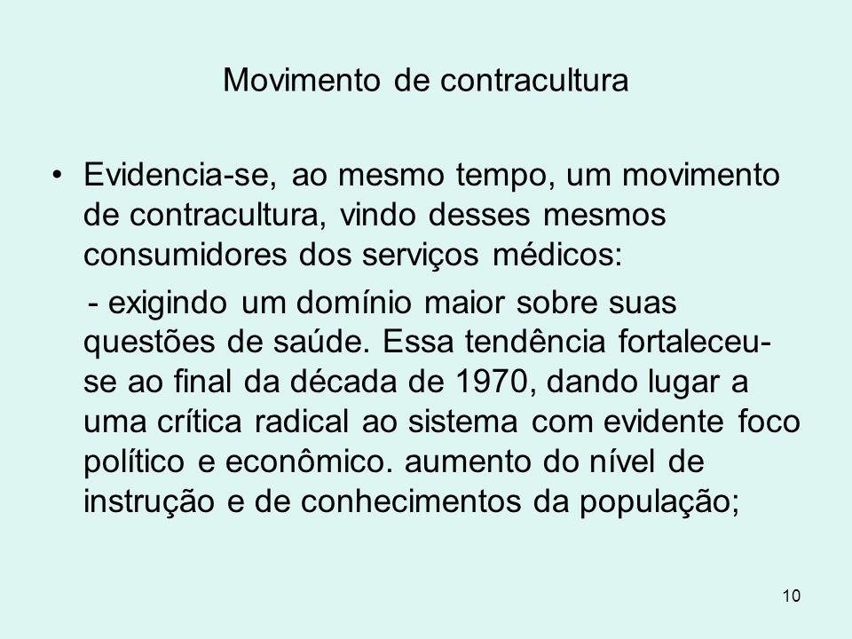 10 Movimento de contracultura Evidencia-se, ao mesmo tempo, um movimento de contracultura, vindo desses mesmos consumidores dos serviços médicos: - ex